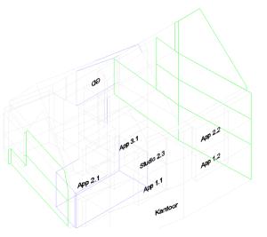 EPB appartementen met kantoor 3D