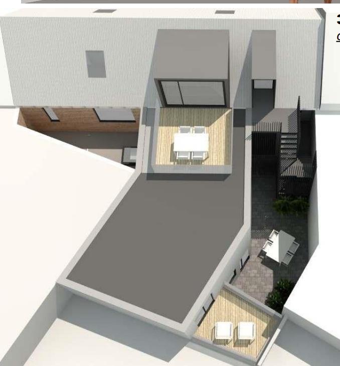 Energetische verbouwing van 4 appartementen dakterras 3D