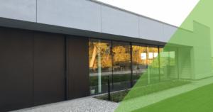Dit is de voorkant van het energieneutrale kantoorgebouw van MijnEPB in Gent